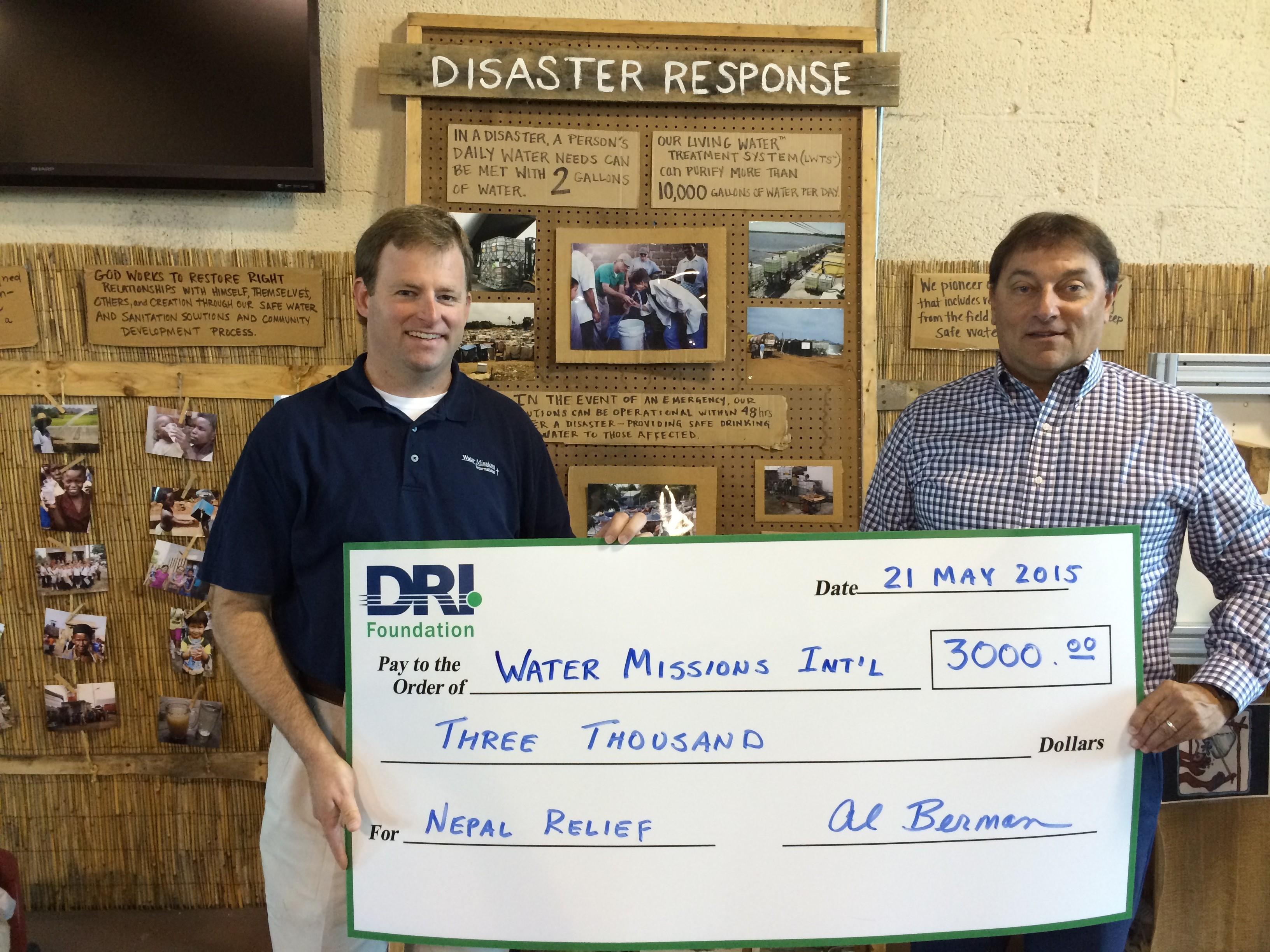 DRI Foundation - Water Missions Donation