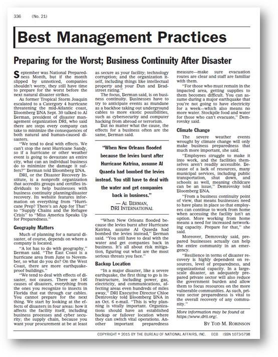 Bloomberg Enrivonmental Compliance Bulletin Article