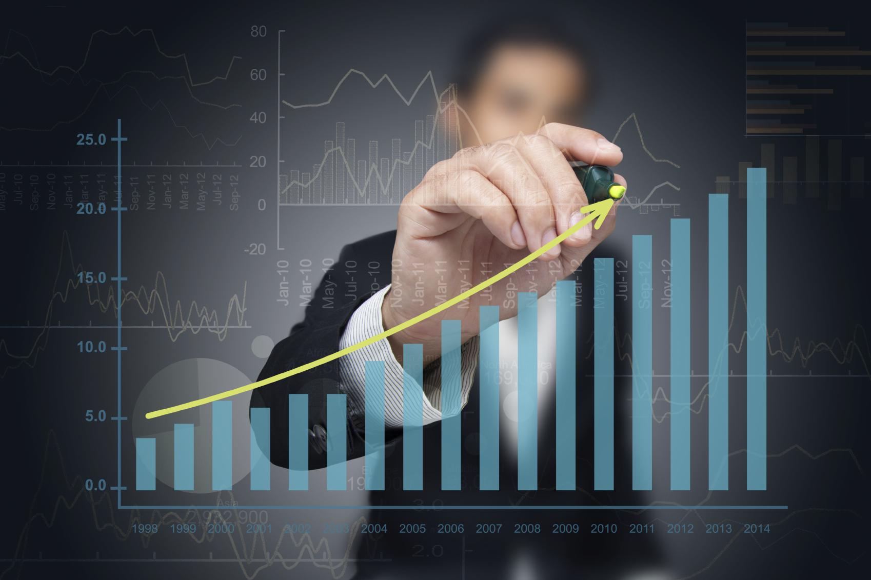 Investor drawing chart.