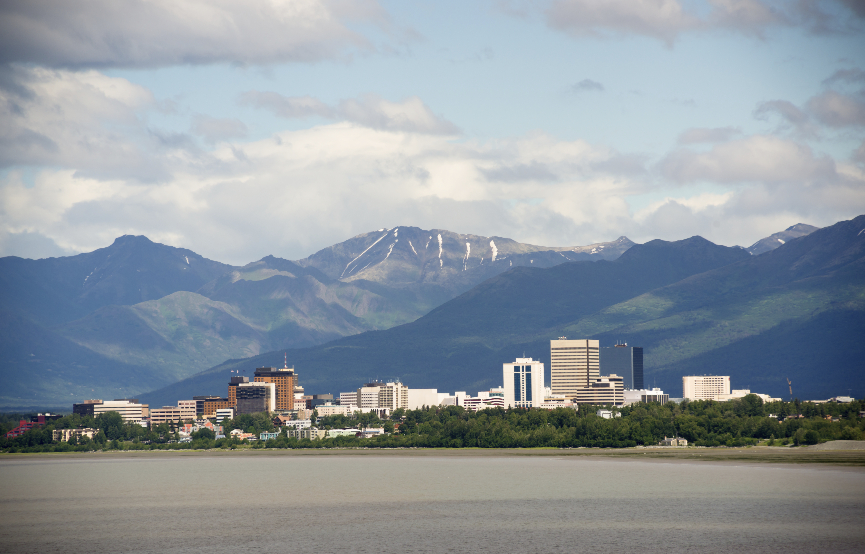 Office Buildings City Skyline Downtown Anchorage Alaska United S