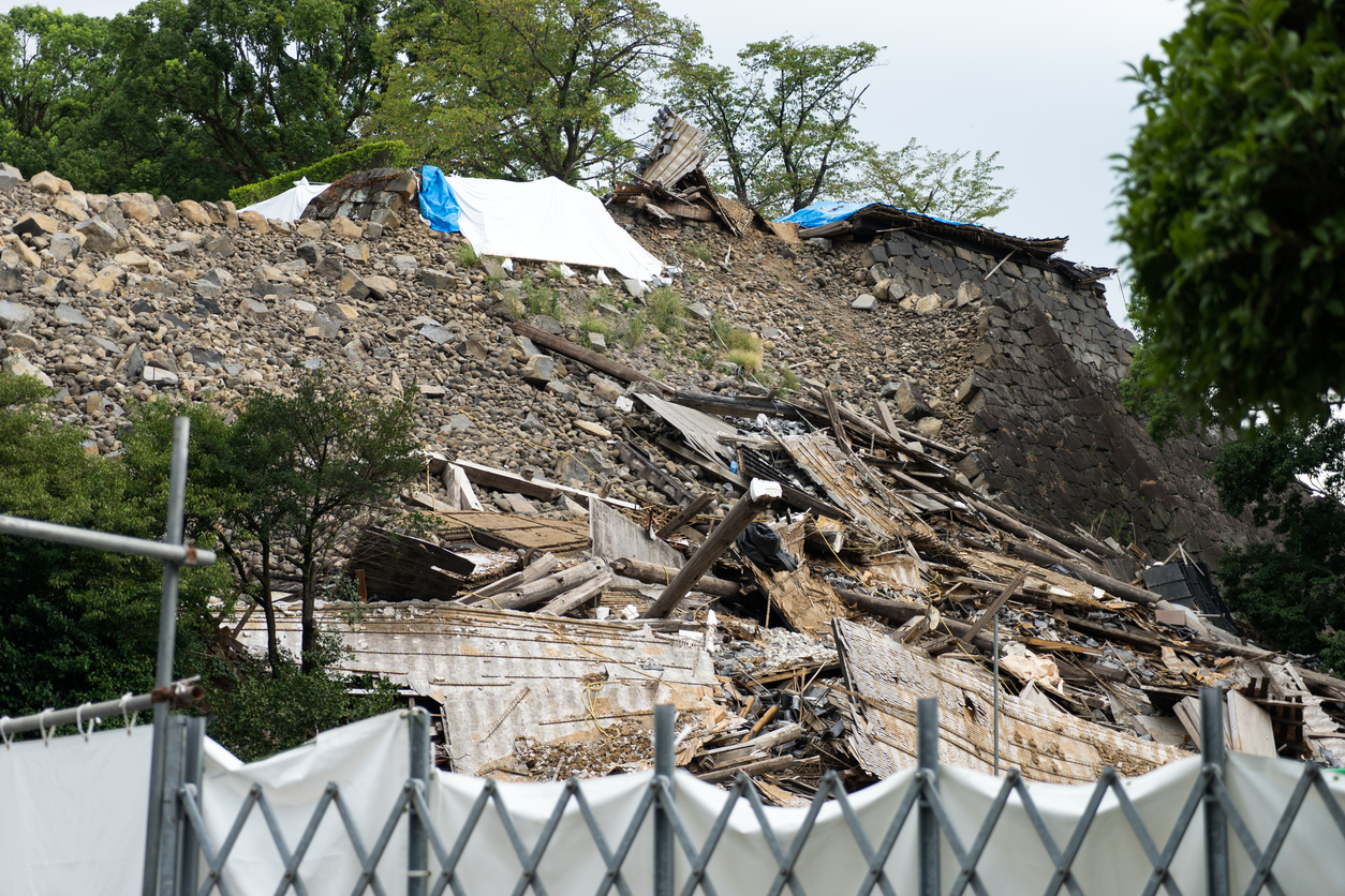View of collapsed stone wall in Kumamoto catsle, Japan