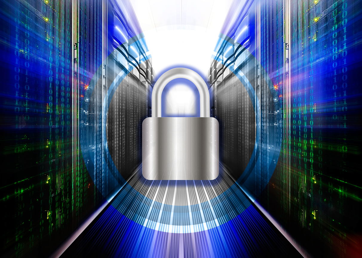 Network safety concept - server closed with padlock, database security.