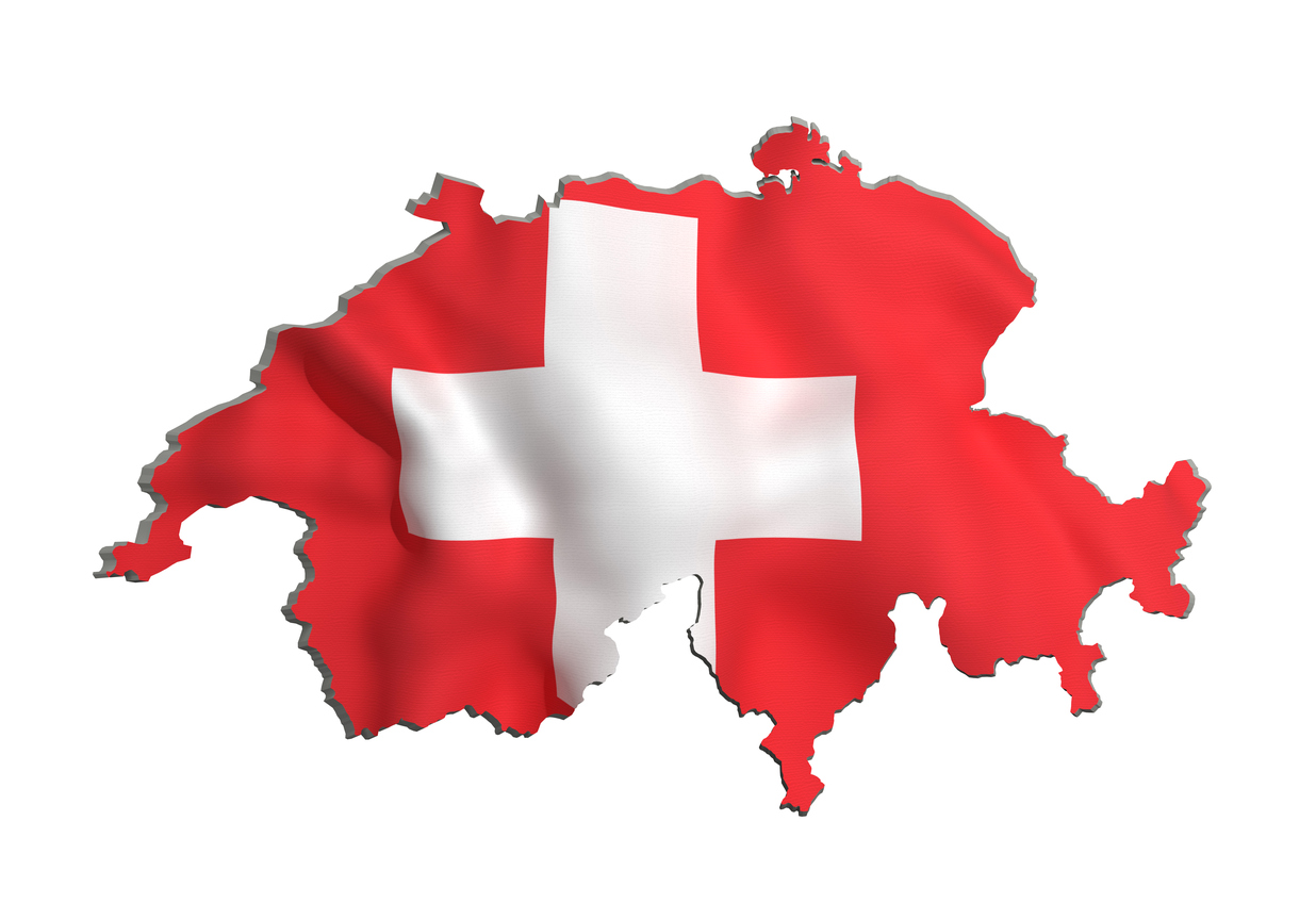 Silhouette of Switzerland map with flag